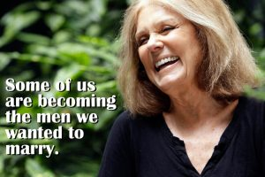 "In this Aug. 9 2011 photo, Gloria Steinem laughs during an interview with The Associated Press, in New York. Four decades after she helped found the women's movement, the feminist icon is in a reflective mode, writing a memoir and participating in an HBO documentary on her life. ""Gloria: In Her Own Words"" premieres Monday, Aug. 15, 2011, on HBO. (AP Photo/Mary Altaffer)"