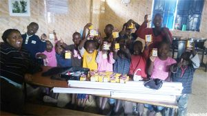 The children at the Good Samaritan Home, receiving the LED bulbs.